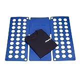 Relaxdays Faltbrett für Wäsche HBT ca. 0,5 x 70,5 x 59 cm mit Falt Butler Kleidung auf DIN A4 falten große Falthilfe platzsparender Wäschefalter Hemdenfalter, blau